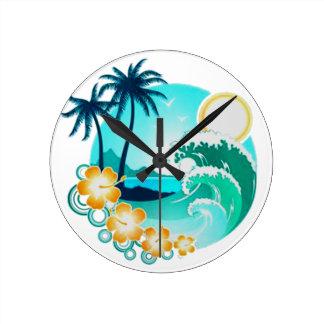 HAWAIIAN TROPICAL SURF ART ROUND CLOCK