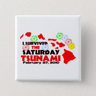 Hawaiian Tsunami Survivor 2 Inch Square Button