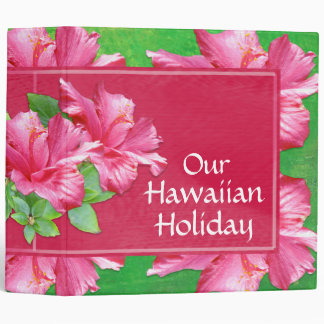 Hawaiian Vacation 2 inch Binder Pink Hibiscus