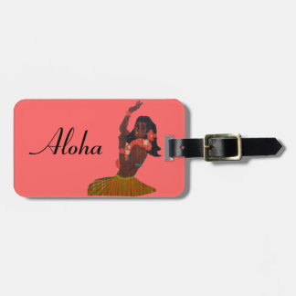 Hawaiian Vintage Hula Dancer Coral Luggage Tag
