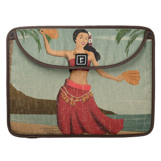 Hawaiian Vintage Hula Girl Distressed Postcard Sleeve For MacBooks