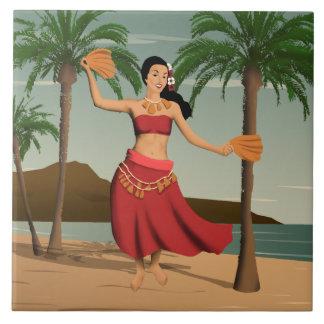 Hawaiian Vintage Hula Girl Postcard Ceramic Tiles