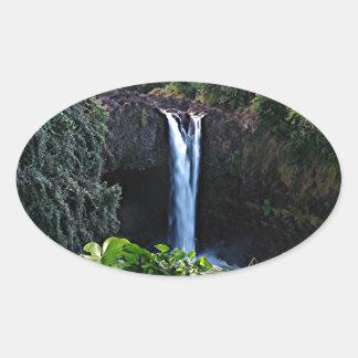 Hawaiian Waterfall Oval Sticker