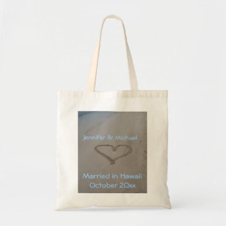 Hawaiian Wedding Heart in Sand Tote Bag