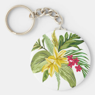 Hawaiian Yellow And Red Flowers Basic Round Button Keychain
