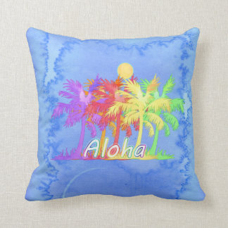 Hawaiin Aloha Palm Tree Watercolors Throw Pillow