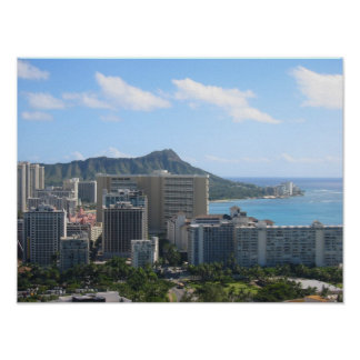 Hawaii's Waikiki and Diamond Head Poster