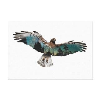 Hawk Double Exposure Canvas Print
