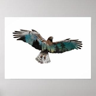 Hawk Double Exposure Poster