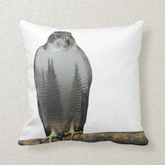Hawk Double Exposure Throw Pillow
