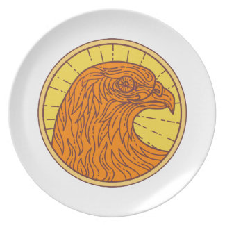 Hawk Eye Side Circle Mono Line Dinner Plates