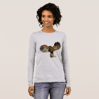 Hawk Flapping Wings Watercolor Painting Long Sleeve T-Shirt