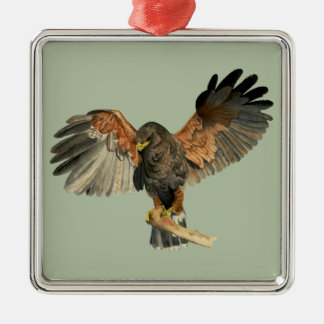 Hawk Flapping Wings Watercolor Painting Metal Ornament