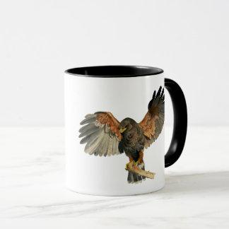 Hawk Flapping Wings Watercolor Painting Mug