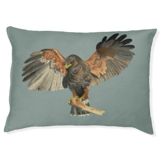 Hawk Flapping Wings Watercolor Painting Pet Bed