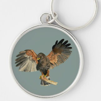 Hawk Flapping Wings Watercolor Painting Silver-Colored Round Keychain