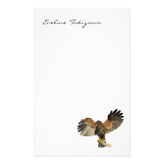 Hawk Flapping Wings Watercolor Painting Stationery