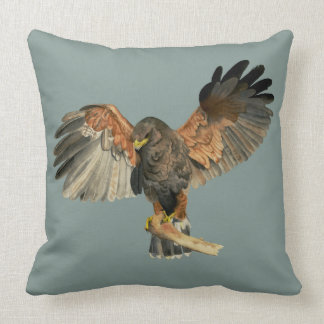 Hawk Flapping Wings Watercolor Painting Throw Pillow