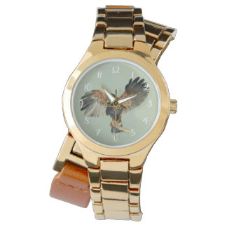 Hawk Flapping Wings Watercolor Painting Watch
