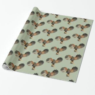 Hawk Flapping Wings Watercolor Painting Wrapping Paper