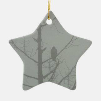 Hawk In The Mist Ceramic Ornament