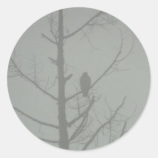 Hawk In The Mist Classic Round Sticker