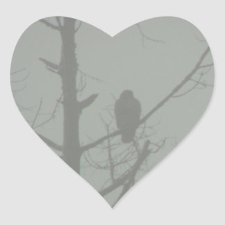 Hawk In The Mist Heart Sticker