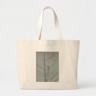 Hawk In The Mist Large Tote Bag