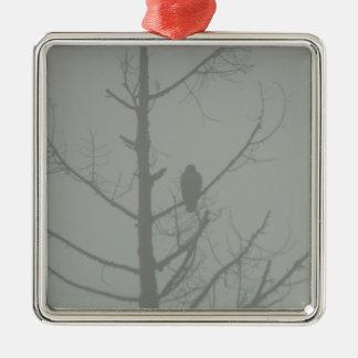 Hawk In The Mist Metal Ornament