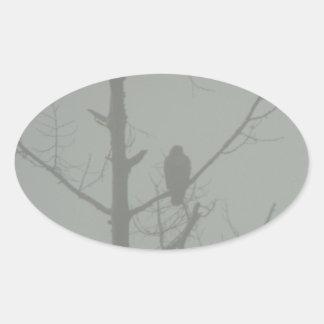 Hawk In The Mist Oval Sticker