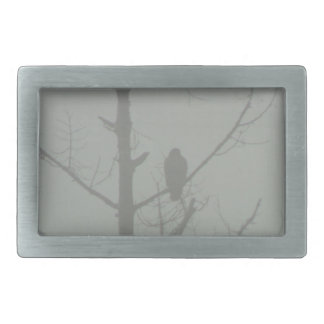 Hawk In The Mist Rectangular Belt Buckles