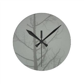 Hawk In The Mist Round Clock