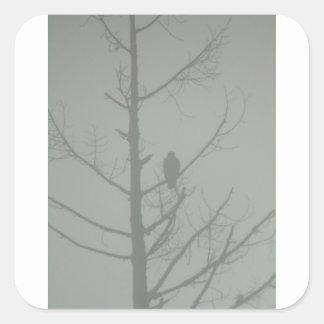 Hawk In The Mist Square Sticker
