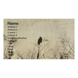 Hawk Love, Hawk in Tree Branches Digital Art Business Cards