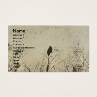Hawk Love, Hawk in Tree Branches Digital Art Business Card
