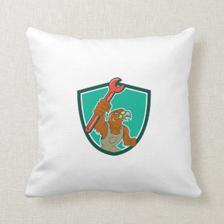 Hawk Mechanic Pipe Spanner Crest Cartoon Throw Pillow