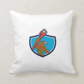Hawk Mechanic Pipe Wrench Crest Cartoon Throw Pillow