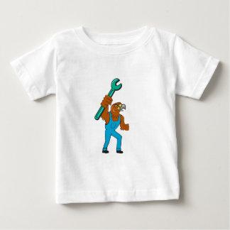 Hawk Mechanic Standing Pipe Spanner Cartoon Baby T-Shirt