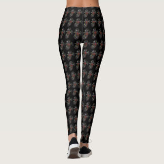Hawk on Black Pattern Leggings