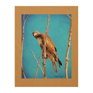 Hawk on Watch Wood Wall Art