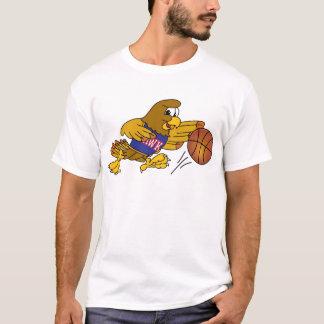Hawk School Mascot Playing Basketball T-Shirt