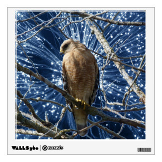 Hawk with fantasy light background wall decal