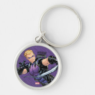 Hawkeye Assemble Silver-Colored Round Keychain