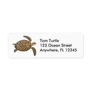 Hawksbill Sea Turtle Label Return Address Label