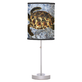 Hawksbill Sea Turtle Vintage Illustration Table Lamp
