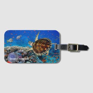 Hawksbill Turtle on a Reef Luggage Tag