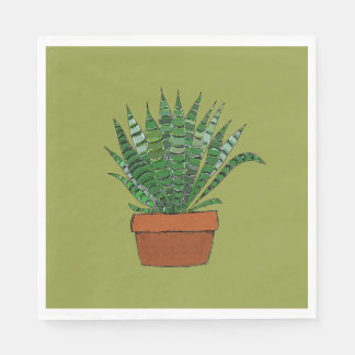 Haworthia Succulent Art Green Napkin Paper Napkins