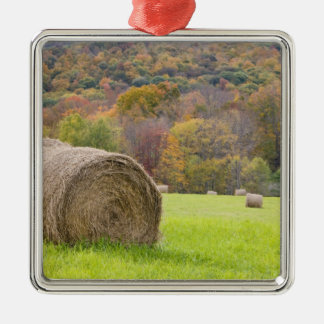 Hay bales and fall foliage on farm, Silver-Colored square ornament