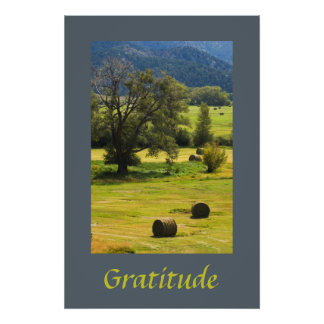 Hay Bales in Fall Meadow Gratitude Poster