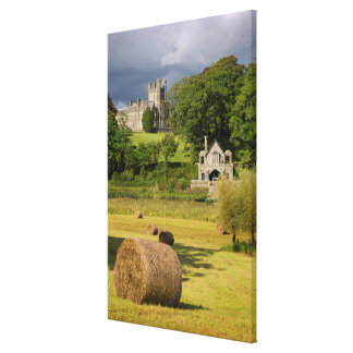 Hay Bales In Front Of Crom Castle Canvas Print